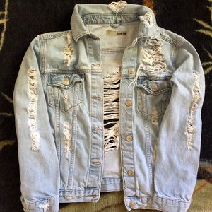 TopShop Moto Distressed Denim Jacket